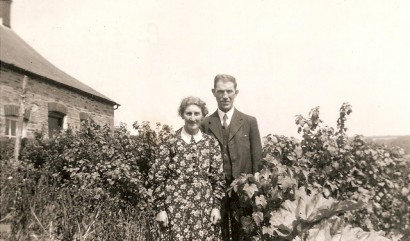 Benjamin and Leah Jones in the garden at 2 Penrhiw