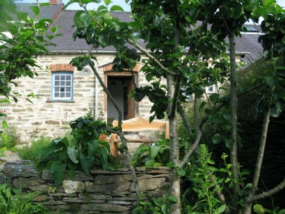 A view of the cottage through the apple tree